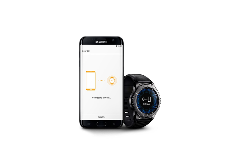 A smartwatch and a mobile phone