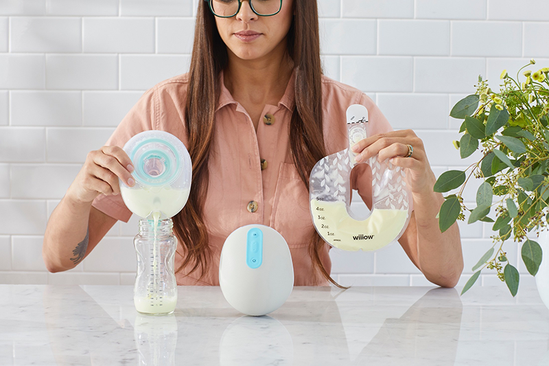 Willow breast pump reusable milk container