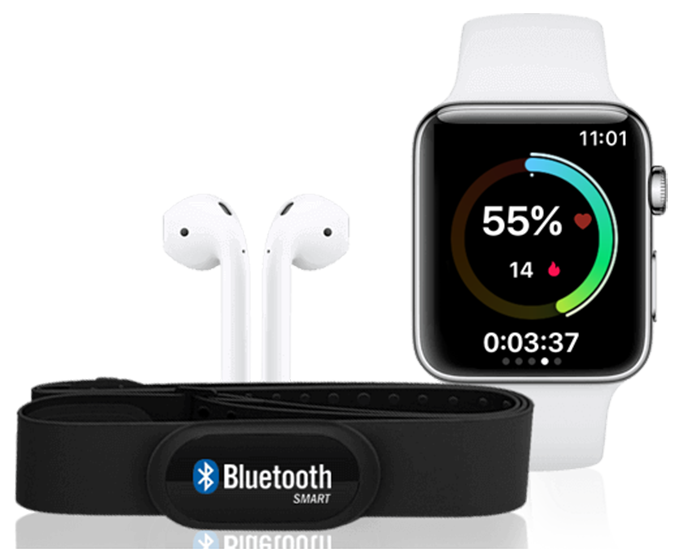 An Apple Watch, Airpods and a Bluetooth device