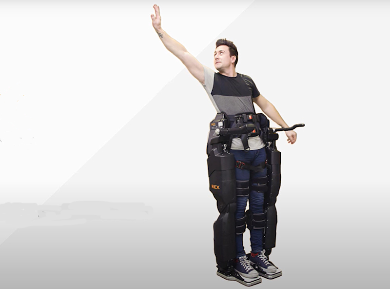 A disabled person wearing an exosuit