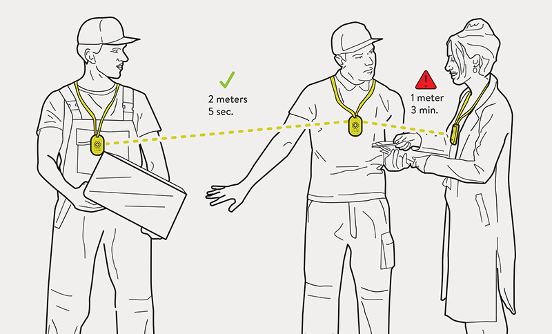 Sketch showing workers keeping distance at workplace