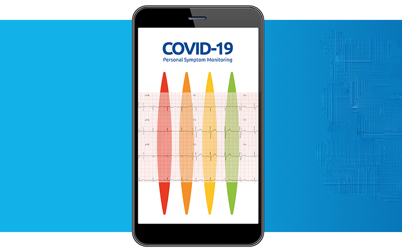 A mobile phone displaying app for Covid-19