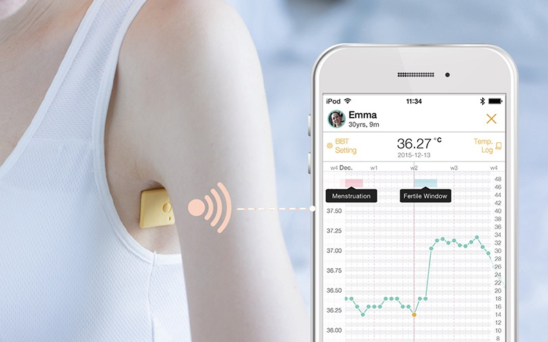 A smart thermometer sending data to a mobile phone