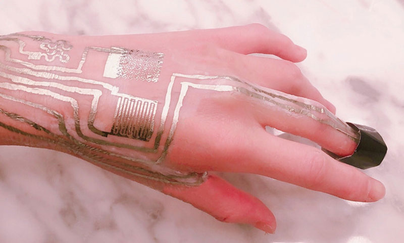 Sensors printed on skin without heat