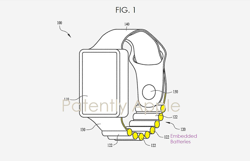 Apple battery watch band patent