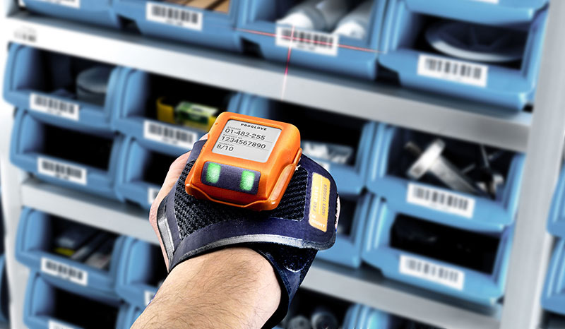 A worker using a wearable scanner
